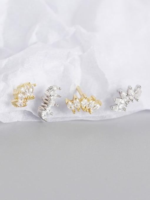 ACE 925 Sterling Silver Cubic Zirconia Leaf Artisan Stud Earring 2