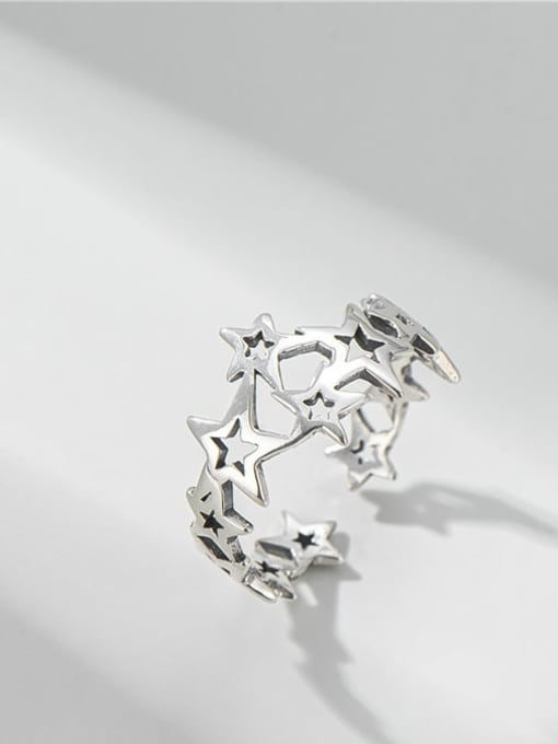ARTTI 925 Sterling Silver Star Vintage Band Ring 0