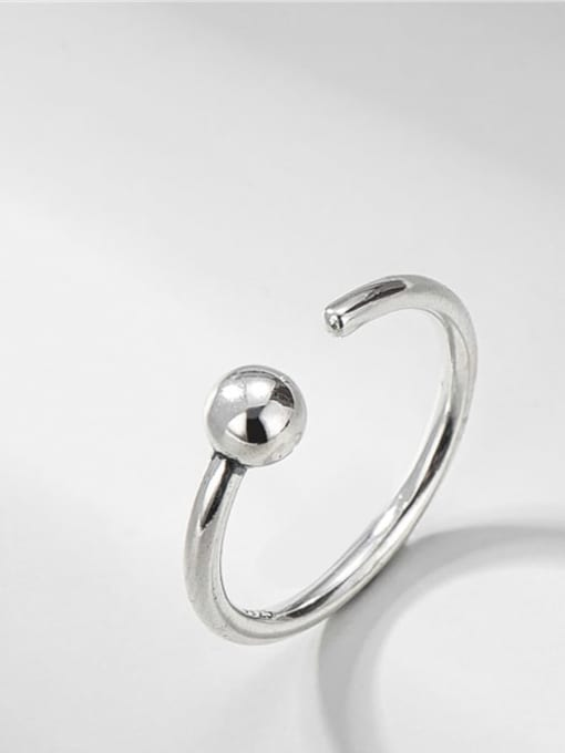 Bead ring 925 Sterling Silver Round Vintage Band Ring