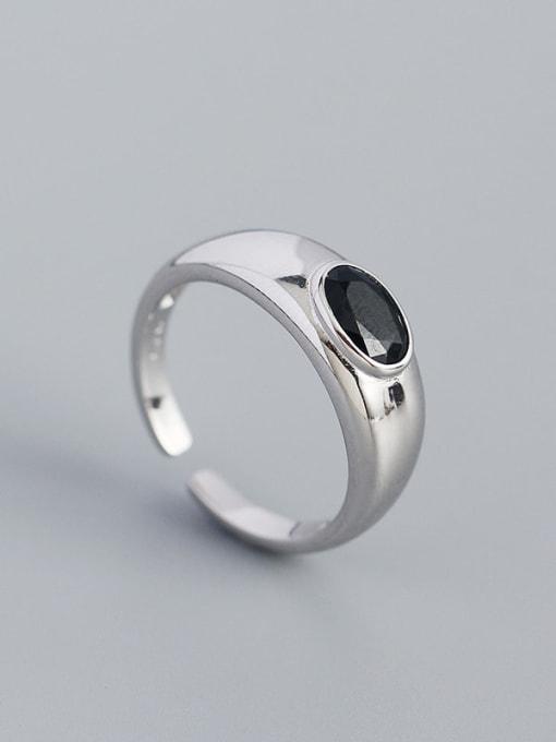 Platinum 925 Sterling Silver Enamel Geometric Minimalist Band Ring