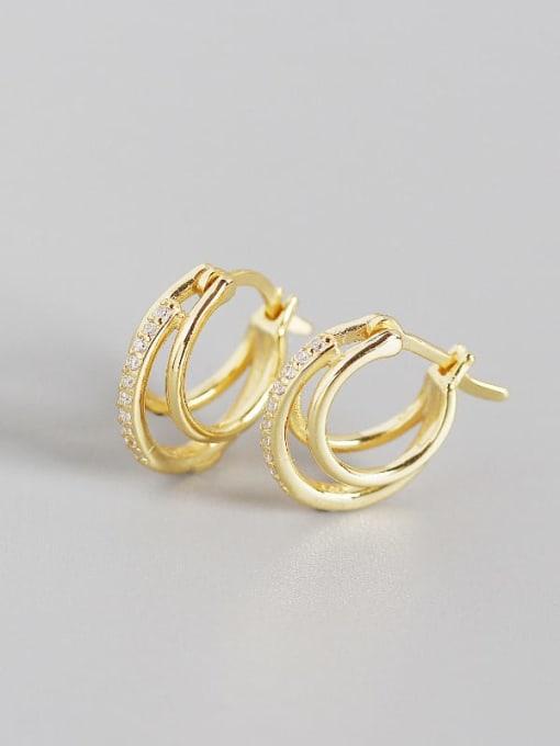 Gold 925 Sterling Silver Cubic Zirconia Geometric Artisan Huggie Earring