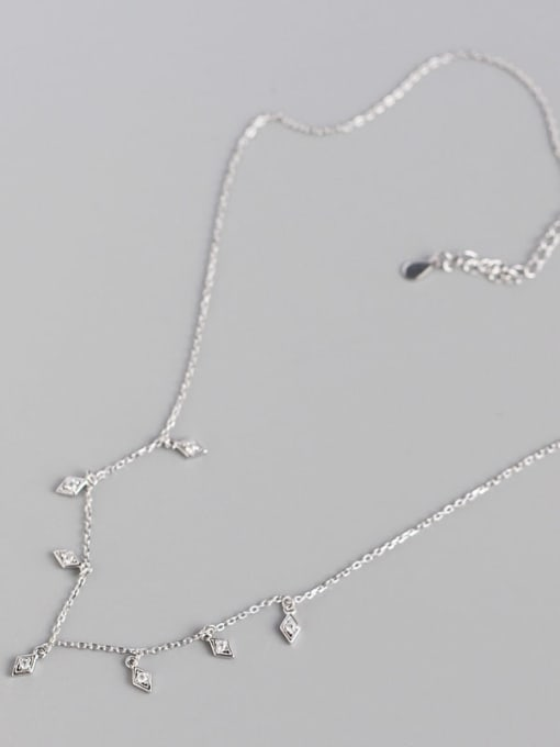 ACE 925 Sterling Silver Cubic Zirconia Geometric Minimalist Necklace 3