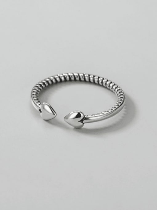 Heart ring 925 Sterling Silver Heart Minimalist Band Ring
