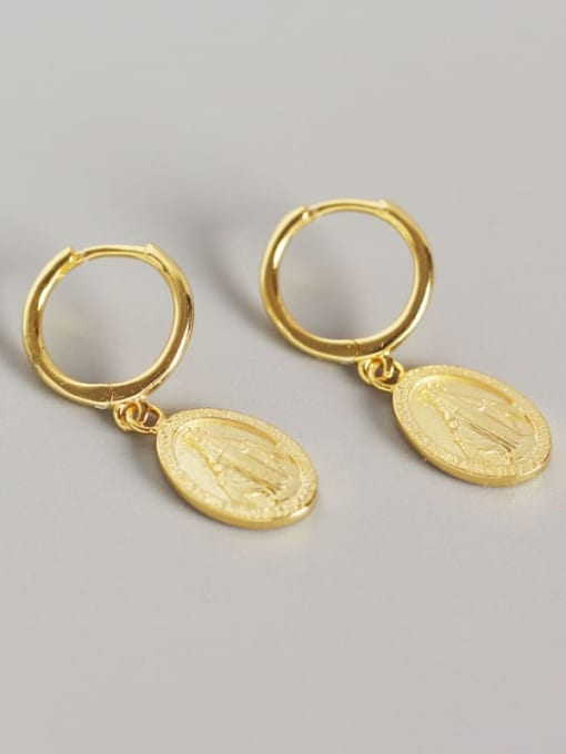 Gold 925 Sterling Silver Geometric Vintage Huggie Earring