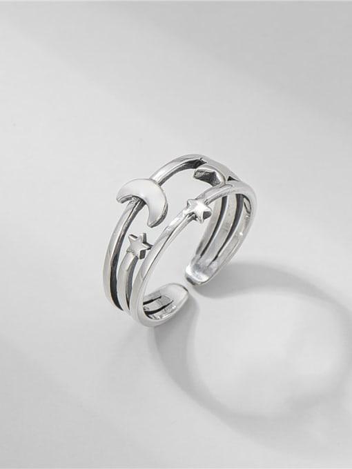 Star Moon ring 925 Sterling Silver Irregular Vintage Band Ring