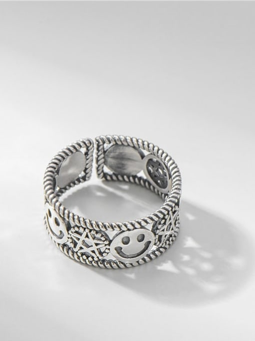 ARTTI 925 Sterling Silver Smiley Vintage Band Ring 0
