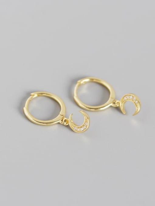 Gold 925 Sterling Silver Rhinestone White Moon Trend Huggie Earring