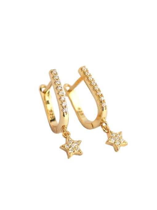 ACE 925 Sterling Silver Cubic Zirconia Star Minimalist Huggie Earring 3