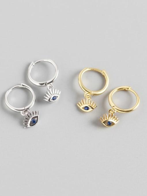 ACE 925 Sterling Silver Cubic Zirconia Eye Trend Huggie Earring