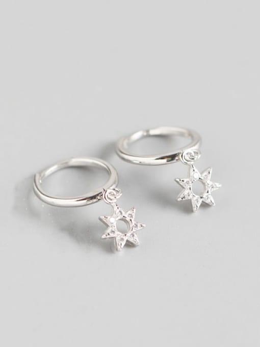 Platinum 925 Sterling Silver Rhinestone White Star Cute Huggie Earring