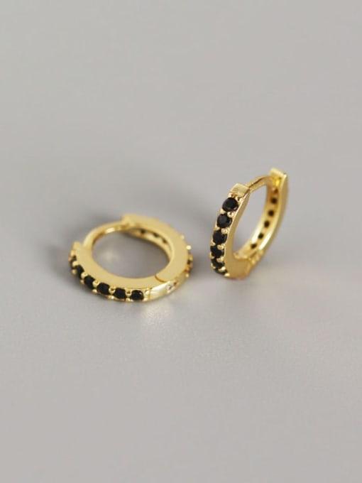 4#Gold (black diamond) 925 Sterling Silver Cubic Zirconia White Geometric Dainty Huggie Earring