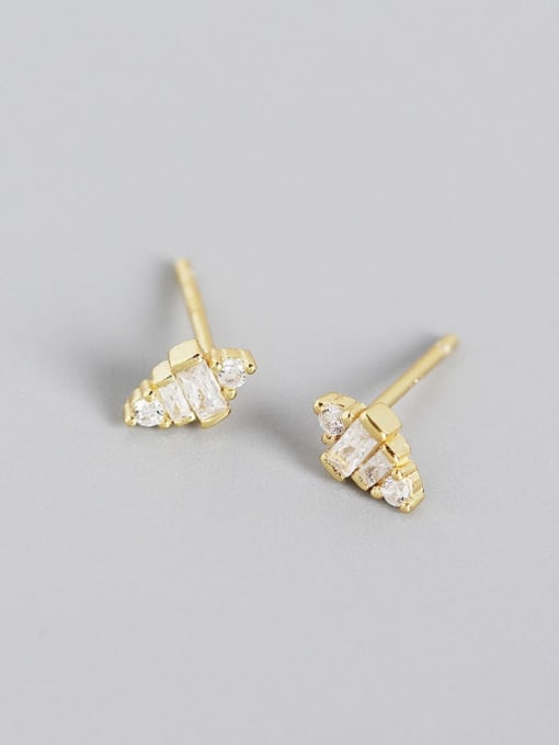 Gold 925 Sterling Silver Cubic Zirconia Geometric Artisan Stud Earring