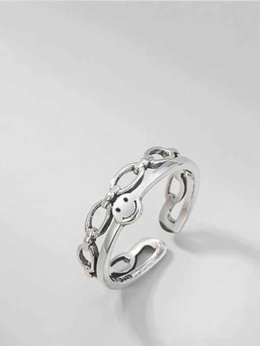 Smiling face ring 925 Sterling Silver Smiley Vintage Stackable Ring