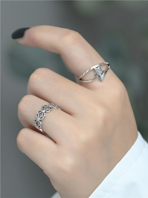 ARTTI 925 Sterling Silver Hollow Clover Vintage Band Ring 2