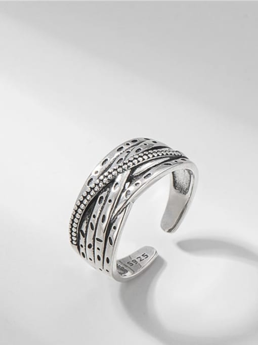Thai silver multi-layer Cross Ring 925 Sterling Silver Irregular Vintage Stackable Ring