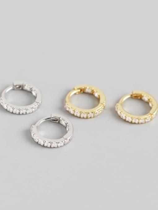 ACE 925 Sterling Silver Rhinestone White Geometric Minimalist Huggie Earring