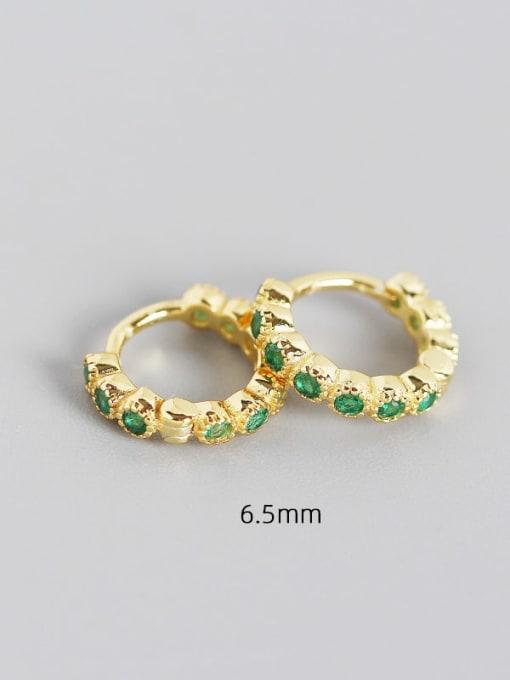 6.5mm gold greenstone 925 Sterling Silver Cubic Zirconia Geometric Minimalist Huggie Earring