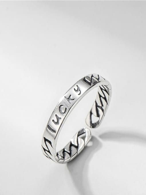 ARTTI 925 Sterling Silver Letter Vintage Band Ring 0