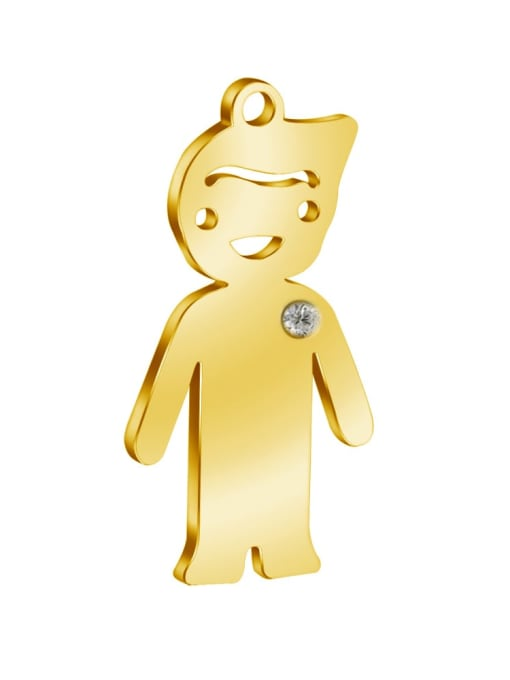 Boy - gold Color 304L Steel Boy or Girl Pendant, Width:14mm,Height:25mm