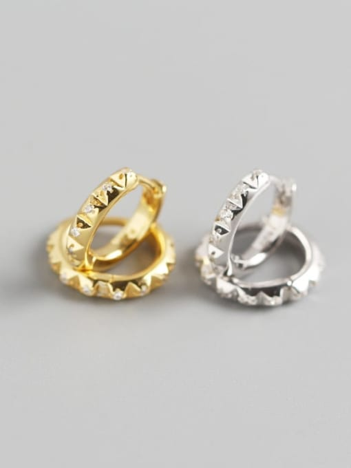ACE 925 Sterling Silver Rhinestone White Geometric Trend Huggie Earring 2