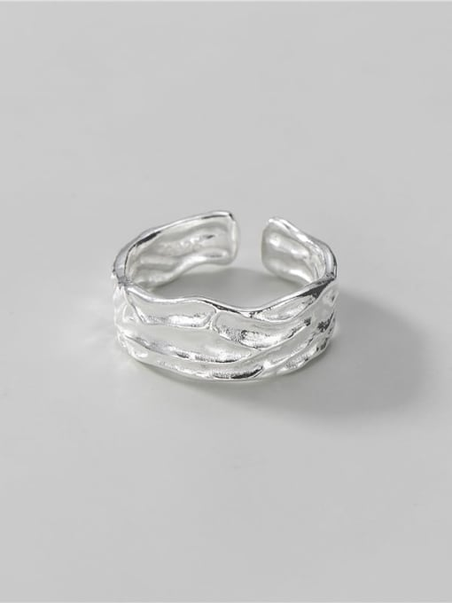 Texture ring 925 Sterling Silver Geometric Vintage Band Ring
