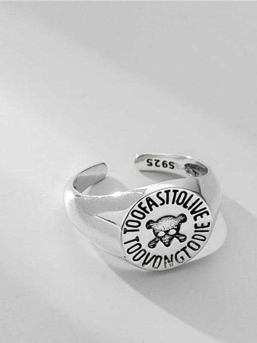 ARTTI 925 Sterling Silver Geometric Vintage Skull Band Ring 3