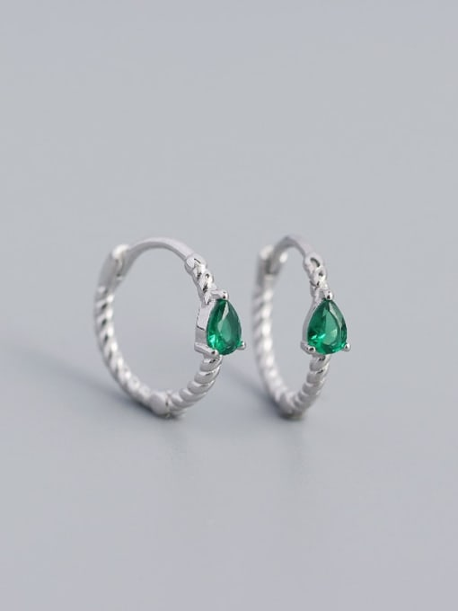 Platinum (green stone) 925 Sterling Silver Cubic Zirconia Geometric Trend Huggie Earring