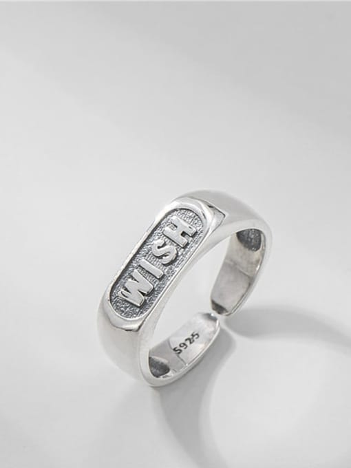 Letter ring 925 Sterling Silver Geometric Vintage Band Ring