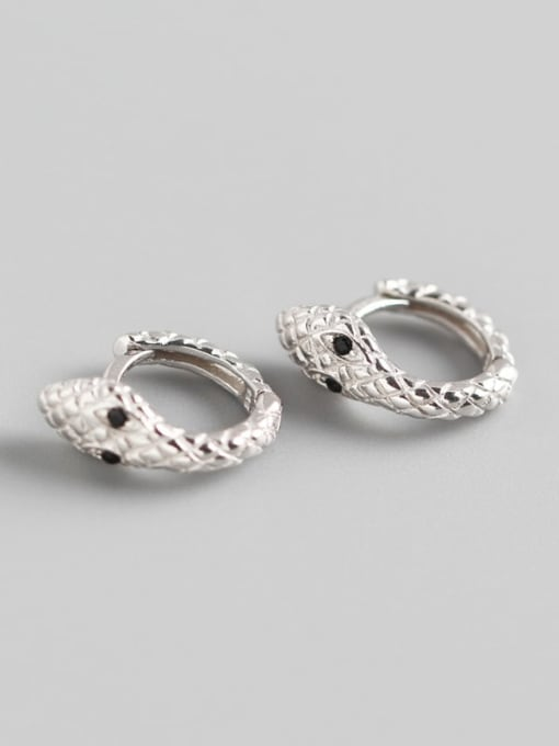 1#Platinum 925 Sterling Silver Snake Trend Huggie Earring