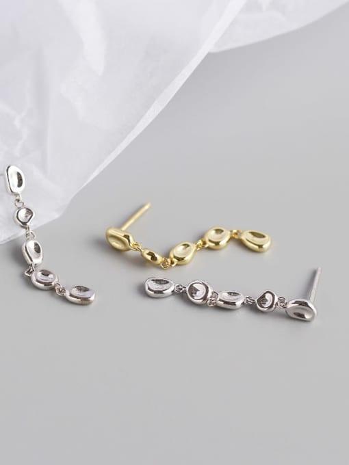ACE 925 Sterling Silver Cubic Zirconia Geometric Artisan Drop Earring 3