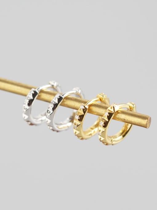 ACE 925 Sterling Silver Rhinestone White Geometric Trend Huggie Earring 1