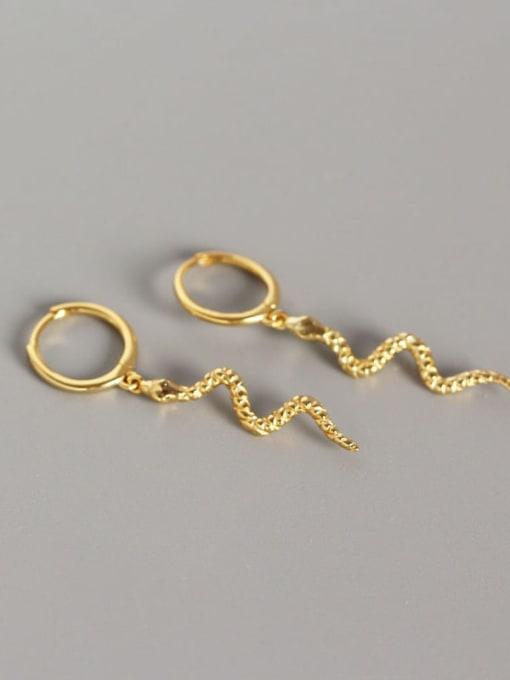 Golden 925 Sterling Silver Snake Ethnic Stud Earring