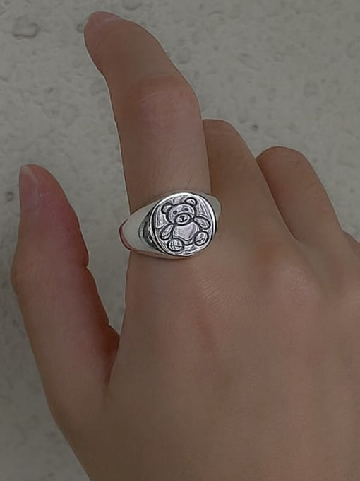ARTTI 925 Sterling Silver Bear Vintage Band Ring 1