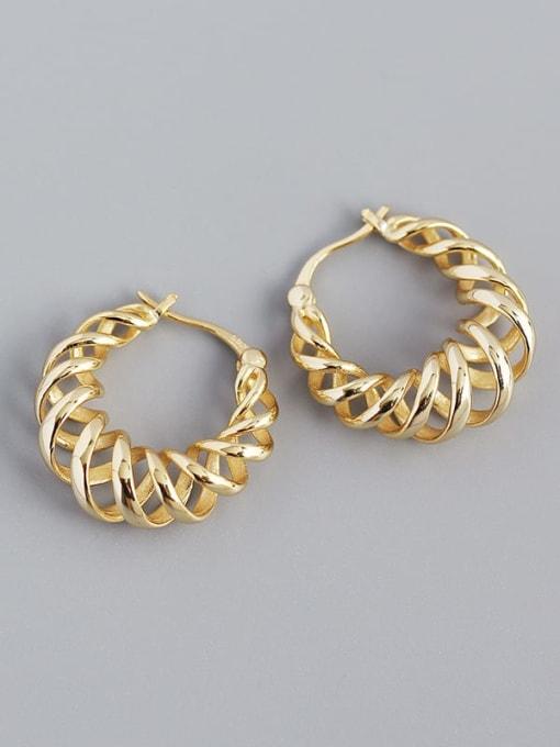 Golden 925 Sterling Silver Geometric Vintage Huggie Earring
