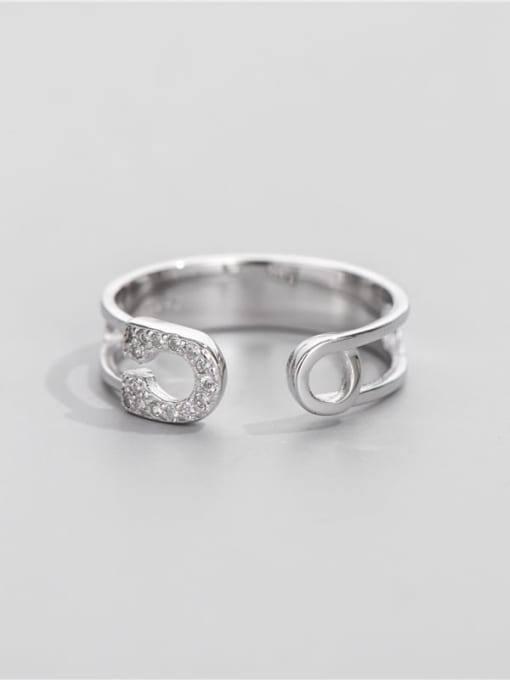 Pin ring 925 Sterling Silver Cubic Zirconia Geometric Vintage Band Ring