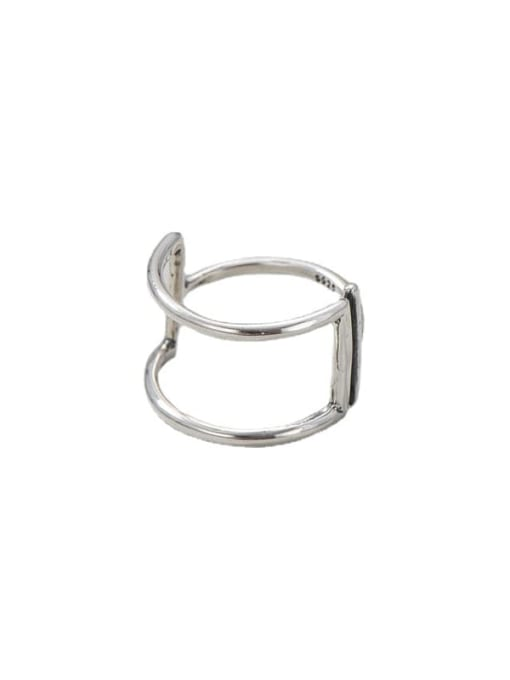 ARTTI 925 Sterling Silver Geometric Vintage Double Layer Line   Band Ring 3