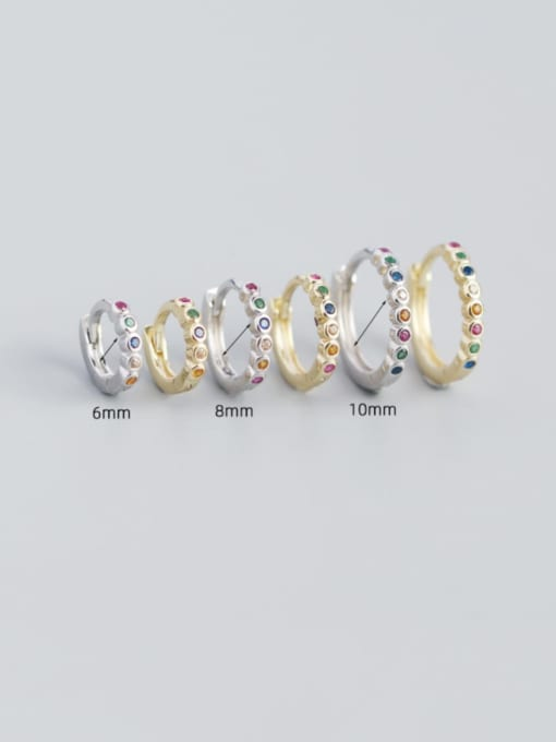 ACE 925 Sterling Silver Rhinestone Geometric Minimalist Huggie Earring 2