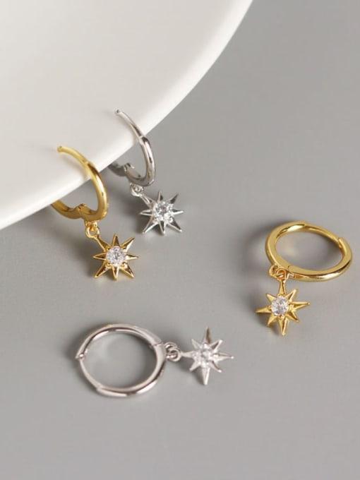 ACE 925 Sterling Silver Rhinestone White Star Minimalist Huggie Earring