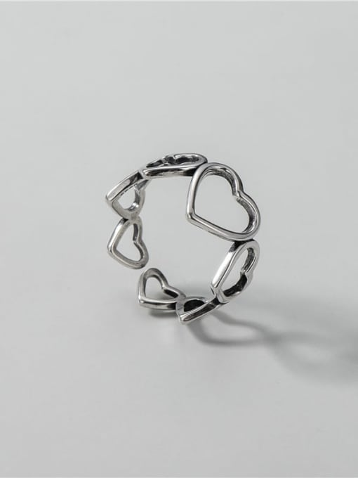 ARTTI 925 Sterling Silver Hollow Heart Vintage Band Ring 2
