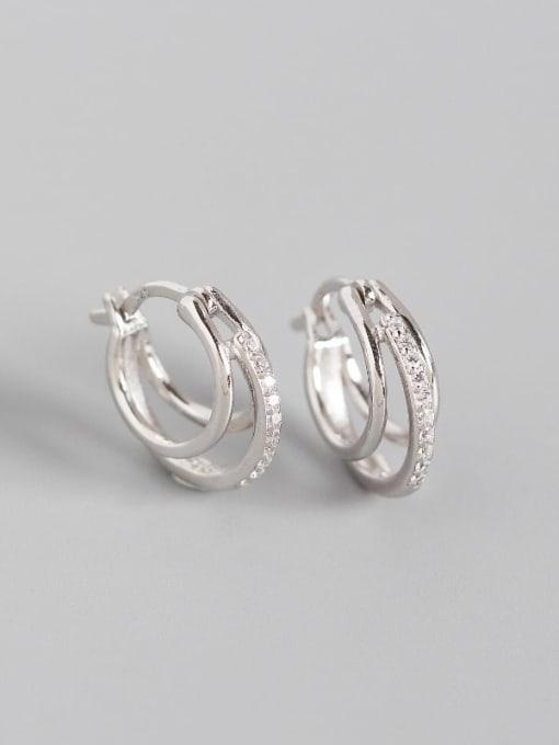 Platinum 925 Sterling Silver Cubic Zirconia Geometric Artisan Huggie Earring
