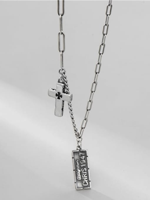 cross necklace 925 Sterling Silver Geometric Vintage Asymmetric   Hollow Chain Necklace