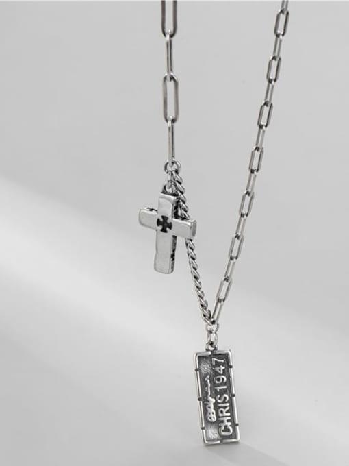 ARTTI 925 Sterling Silver Geometric Vintage Asymmetric   Hollow Chain Necklace