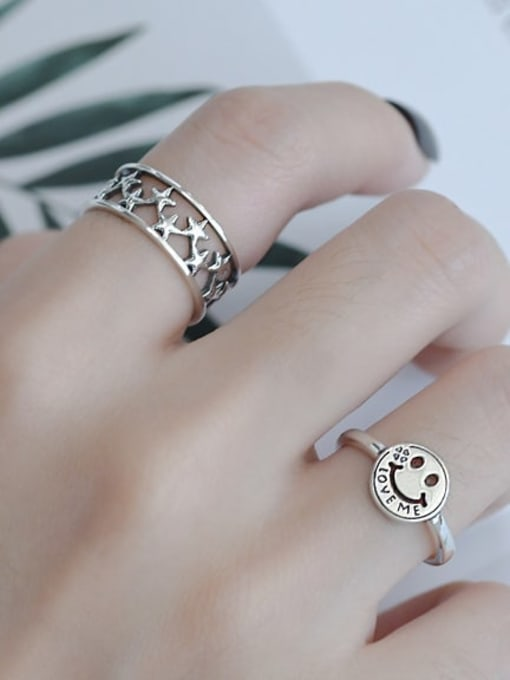ARTTI 925 Sterling Silver Star Vintage Band Ring 1