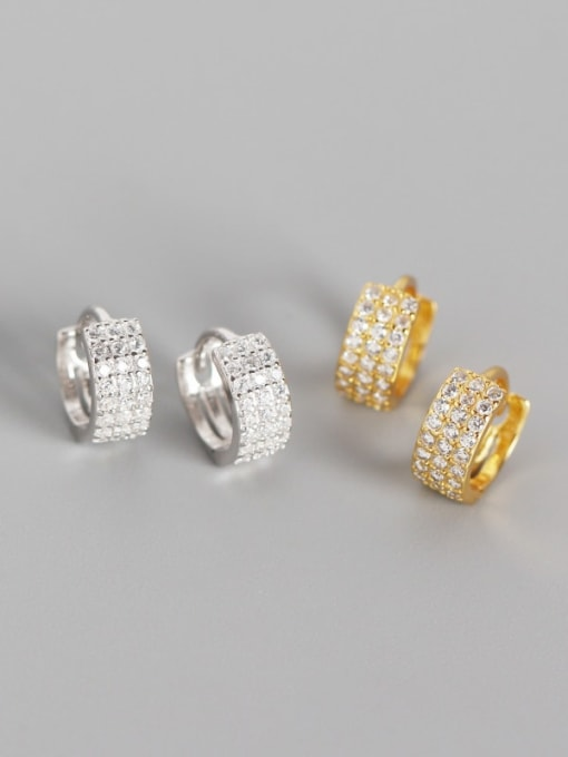 ACE 925 Sterling Silver Cubic Zirconia White Geometric Trend Huggie Earring