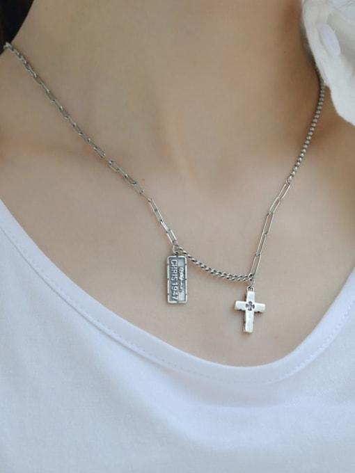 ARTTI 925 Sterling Silver Geometric Vintage Asymmetric   Hollow Chain Necklace 1
