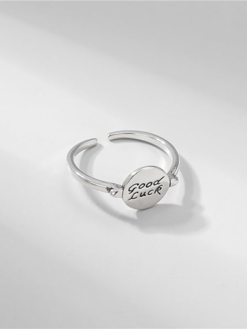 ARTTI 925 Sterling Silver Letter Vintage Lucky Round  Band Ring 2