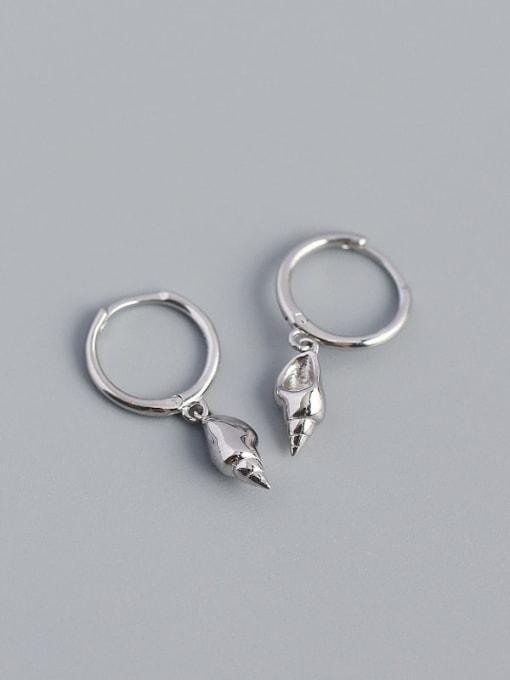 Platinum 925 Sterling Silver Rhinestone Irregular Vintage Huggie Earring