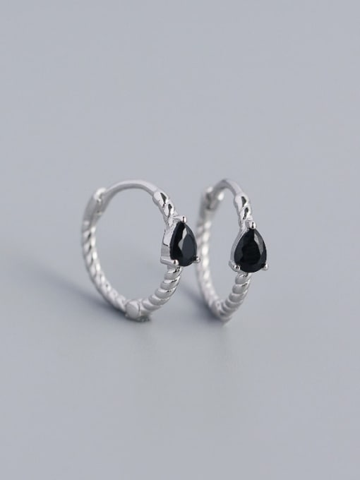 Platinum (Black stone) 925 Sterling Silver Cubic Zirconia Geometric Trend Huggie Earring
