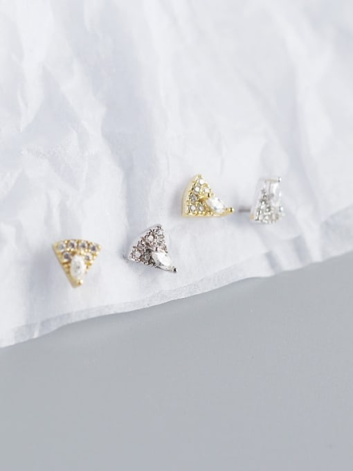 ACE 925 Sterling Silver Cubic Zirconia Triangle Vintage Stud Earring 3