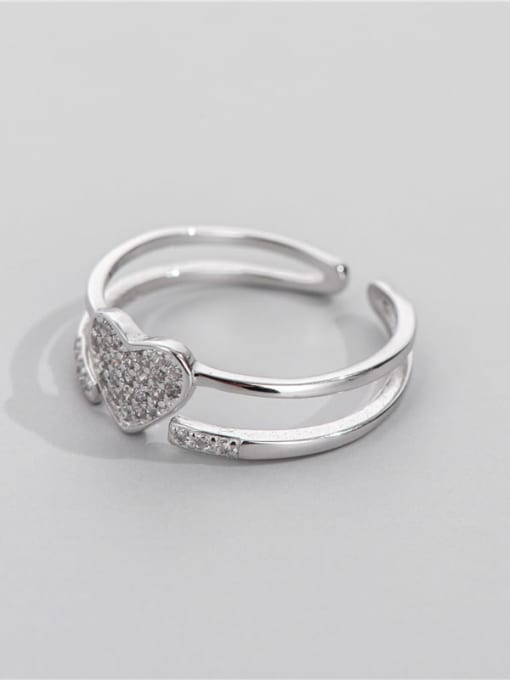 ARTTI 925 Sterling Silver Rhinestone Geometric Minimalist Stackable Ring 2